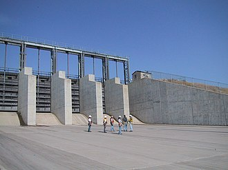 Alameda Dam - Spillway at Alameda Dam, showing hydraulically operated vertical lift gates.