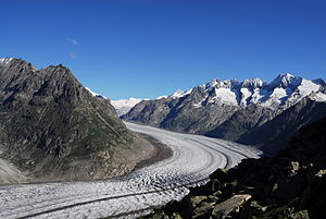 Grosses Wannenhorn - Aletsch Glacier and Gross Wannenhorn (right), from the Bettmerhorn