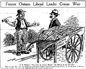 Calgary Herald - Political Cartoon of Alexander Grant MacKay moving from Ontario to Alberta, Calgary Herald, May 26, 1912