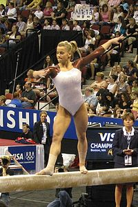 Alicia Sacramone performs on the balance beam at the 2008 U.S. National Championships in Boston, MA.