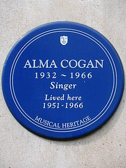 Alma cogan 1932 1966 singer lived here 1951 1966