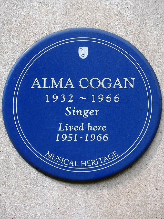 Alma Cogan blue plaque - Alma Cogan 1932-1966 singer lived here 1951-1966