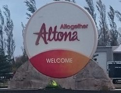 Sign shown when entering Altona
