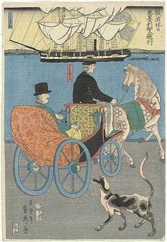 Sadahide - Image: Amerikaan op een uitje Rijksmuseum NG 663 4
