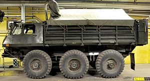 Six-wheel drive - 6-wheel British-manufactured military Alvis Stalwart 6×6 with three evenly spaced axles and full-time 6x6 H-drive