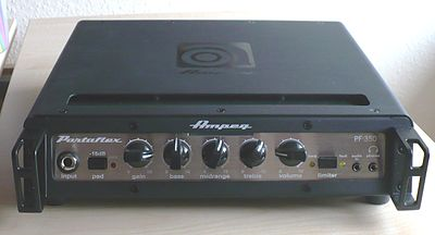 The Ampeg Portaflex is a small, lightweight, yet powerful bass amplifier head. It is small and light enough to be carried with one hand, yet powerful enough to run a large bass stack. Ampeg Portaflex PF 350.JPG
