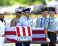 An all-service honor guard team repatriates the remains of 17 unaccounted for U.S. serviceman from North Korea, Vietnam and Laos during a joint arrival ceremony held at Hickam AFB, Hawaii July 10, 2001 010710-F-TV770-003.jpg