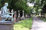 An avenue of gravestones, Lawnswood. The angel on the left is part of 913027, and there are many splendid gravestones as can be seen in the photograph.