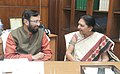 Anandiben Patel calling on the Minister of State for Information and Broadcasting (Independent Charge), Environment, Forest and Climate Change (Independent Charge) and Parliamentary Affairs, Shri Prakash Javadekar.jpg