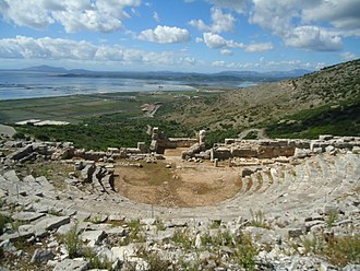 Pleuron (Aetolia) - Pleuron (Plevrona) ancient theater. Mesologi lagoon on the background.