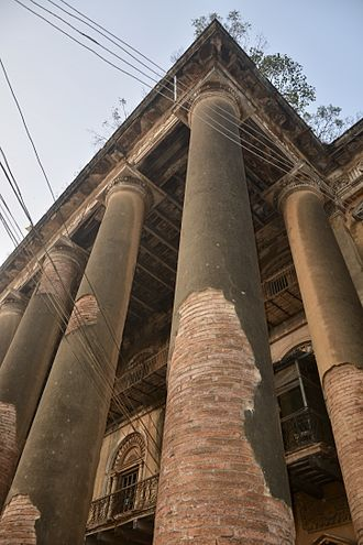 Andul - Another angle showing the outside pillars of Andul Rajbari.