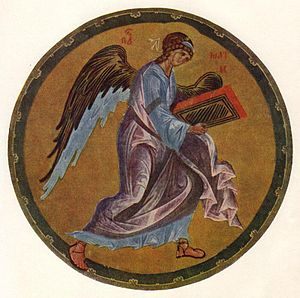 Khitrovo Gospels - The Man of Matthew, a miniature attributed to Andrey Rublev.