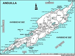 Road Salt Pond - Map of Anguilla showing the pond at Road Bay on the north-west coast
