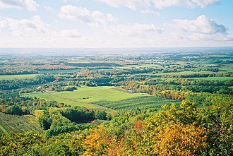 Annapolis Valley - View of the Annapolis Valley as viewed from North Mountain looking southeast from Valleyview Provincial Park, north of Bridgetown, in October 2005.