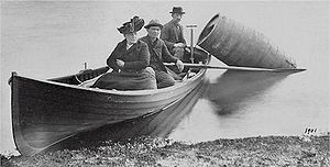 Annie Edson Taylor preparing her historic trip...