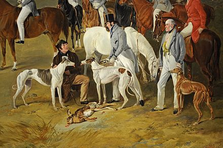 Painting of gentlemen hunting hares by Richard Ansdell Ansdell Caledonian Coursing detail 2.jpg