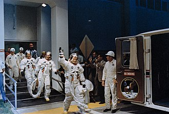 Operations and Checkout Building - Image: Apollo 11 crew at van for transfer to launch pad