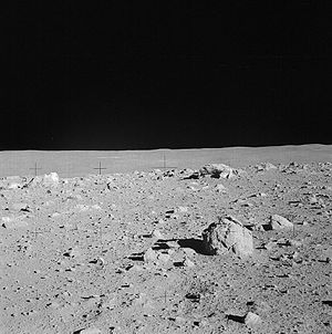 Fra Mauro formation - Photograph taken on Apollo 14 showing a cluster of boulders near the rim of Cone crater. Note the layering on some of the larger boulders.