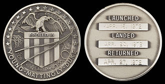 Apollo 16 - Apollo 16 space-flown silver Robbins medallion.