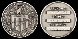 Apollo 16 - Apollo 16 space-flown silver Robbins medallion.