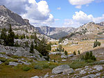 A photo of the Wind River Range approaching the Lozier Lakes.