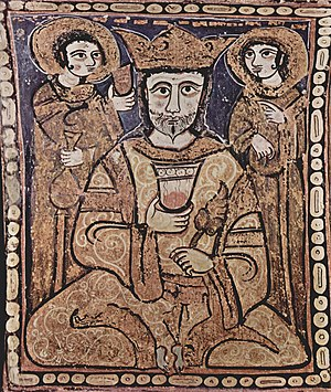 Cappella Palatina - Roger II of Sicily depicted on the muqarnas ceiling in an Arabic style.