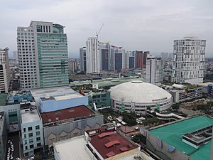 Gateway Mall (Araneta Center) -  The Gateway Mall and The Gateway Tower (Gateway Complex), located at the left side of the Araneta Coliseum,as of 2017.