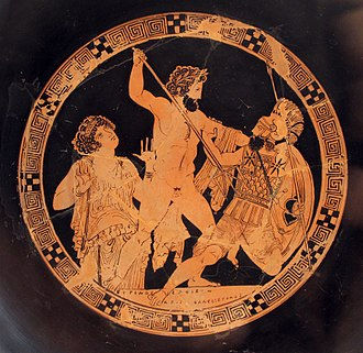 Polybotes - Poseidon attacks Polybotes in the presence of Gaia, red-figure cup late fifth century BC (Antikensammlung Berlin F2531)