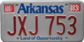 Arkansas license plate, 1978–1988 with August 1983 sticker.png