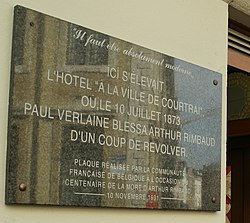 Photo of Paul Verlaine and Arthur Rimbaud black plaque