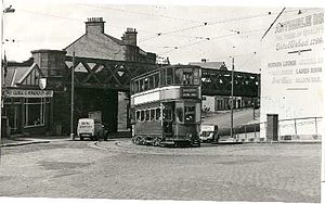 Barrhead (New) railway station - The station was immediately behind the Arthurlie Inn in the photograph.