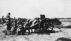 Battle of Agordat (1941) - Italian artillery firing on Kassala
