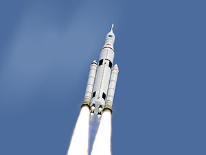 Exploration Mission 1 - Artist concept of SLS Block 1 configuration in flight