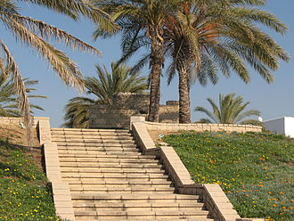 Ashdod-Sea - Ruins of the ancient lighthouse used in conjunction with the castle, at the end of a modern staircase