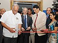 Ashok Gajapathi Raju Pusapati inaugurating an exhibition at the International Civil Helicopters Conclave 2015, in New Delhi on October 16, 2015. The Secretary, Ministry of Civil Aviation, Shri R.N. Choubey is also seen.jpg