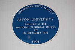 Photo of Aston University and Birmingham Municipal Technical School blue plaque