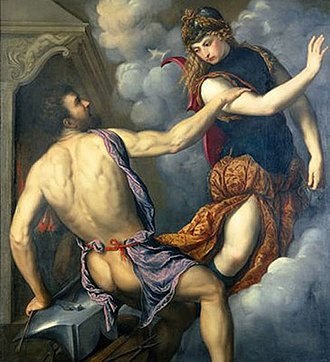 Erichthonius of Athens - Athena Scorning the Advances of Hephaestus, Paris Bordone, between c. 1555 and c. 1560