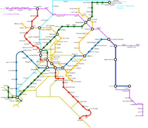 Athens Mass Transit System - Map of complete (planned) Metropolitan railway network (Metro, Suburban and Tram).