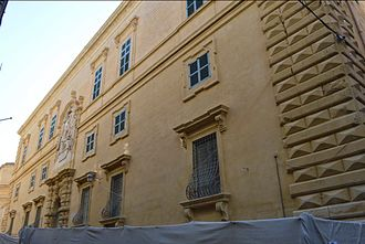 Maltese Baroque architecture - Auberge d'Italie, originally designed by Girolamo Cassar in the Mannerist style but later redecorated in the Baroque style