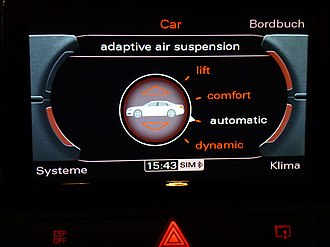 Height adjustable suspension - An Audi A8 Multi Media Interface control screen for its Adaptive Air Suspension, which gives the vehicle clearance a range from 95 mm to 145 mm