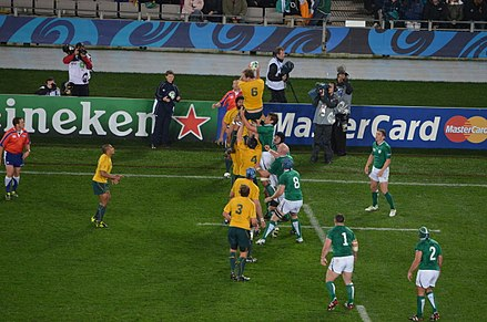 Elsom (Number 6) takes a lineout against Ireland at the RWC 2011 Australia vs Ireland 2011 RWC (2).jpg
