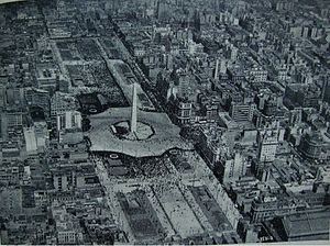 9 de Julio Avenue - The avenue and obelisk on their 1937 inaugural.