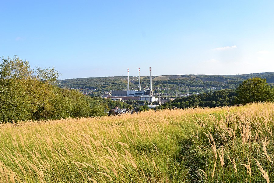 Awirs Power Station, from the Plateau des Fagnes, close to the Schmerling Caves, place of the first discovered neandertalian remains by Philippe-Charles Schmerling in 1830 - Awirs, Flémalle / Engis, Liège, Belgium