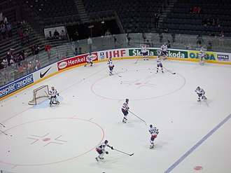 2010 IIHF World Championship - Slovakia warming up prior to facing Belarus in Group A preliminary action