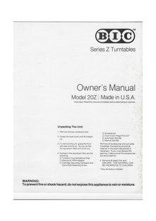 Index:BIC Series Z Turntables, Owner's Manual, Model 20Z.pdf ...