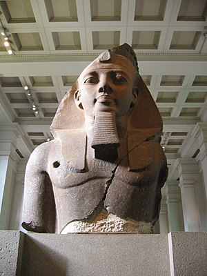 Nemes - Image: BM, AES Egyptian Sulpture ~ Colossal bust of Ramesses II, the 'Younger Memnon' (1250 BC) (Room 4)