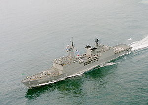 Bangladesh Armed Forces - Bangladesh Navy's guided missile frigate cruising at sea