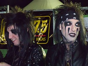 Black Veil Brides - BVB members Jake Pitts (left) and CC (right) at a signing table in Las Vegas in March 2011