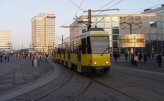 Alexanderplatz - Tram passing the World Clock