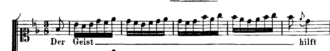Motet - This excerpt from J.S. Bach's Baroque music era motet, entitled Der Geist hilft unser Schwachheit auf (BWV226), shows that the singer is asked to sing many different notes on the same syllable of text, a compositional approach called a melisma.